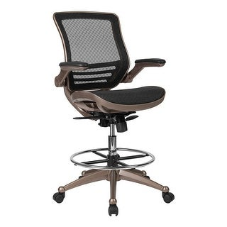 Offex Mid Back Transparent Black Mesh Drafting Chair with Melrose Gold Frame and Flip Up Arms