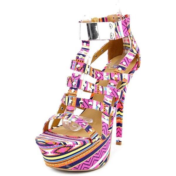 Dollhouse Guardian Women Open Toe Canvas Pink Platform Sandal