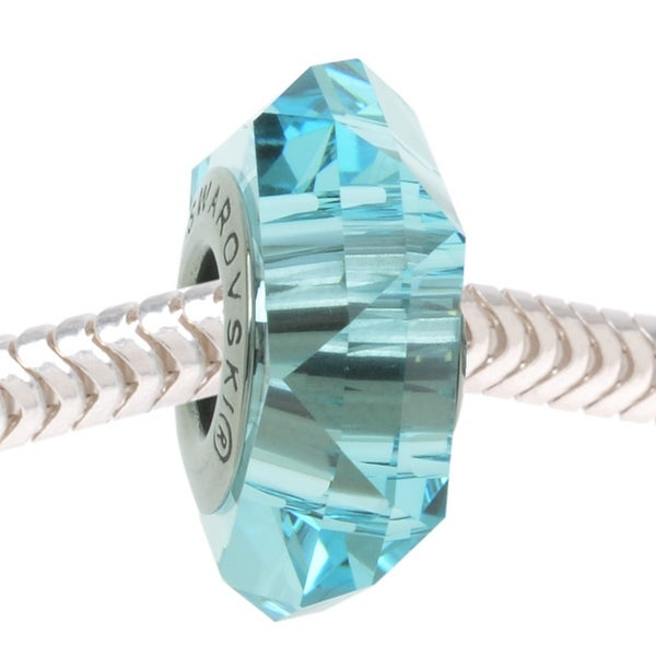 Swarovski Elements Crystal, 5929 BeCharmed Fortune European Style Lg Hole Bead 14mm, 1 Pc, Light Turquoise