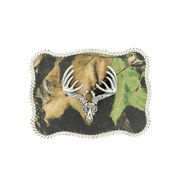 Nocona Western Belt Buckle Roped Buck Skull Camo Silver - 2 3/4 x 3 1/4