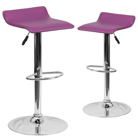 """2 Pk. Contemporary Vinyl Adjustable Height Barstool with Chrome Base - 15""""W x 15""""D x 25.5"""" - 34""""H"""