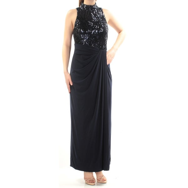 Womens Navy Sleeveless Full Length Sheath Prom Dress Size: 10