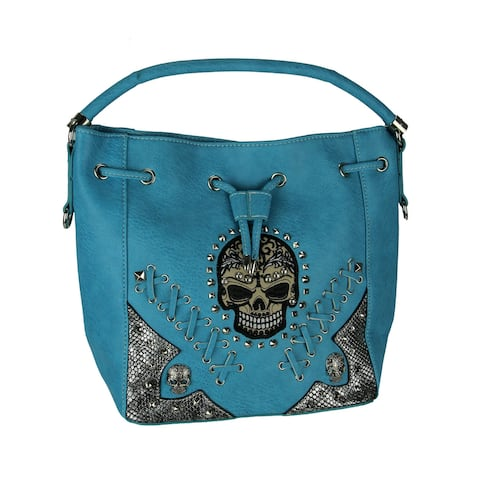 Embroidered Skull Concealed Carry Handbag with Stitched Details, Turquoise
