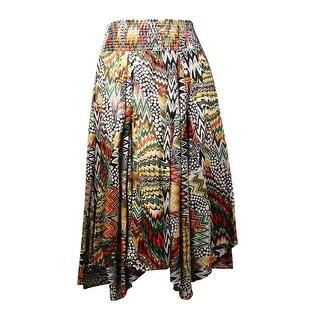 Grace Elements Women's Mix-Print Shirred Cotton Skirt - L