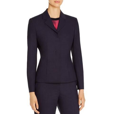 BOSS Hugo Boss Womens Jatinda Two-Button Blazer Wool Checkered - Blue/Black