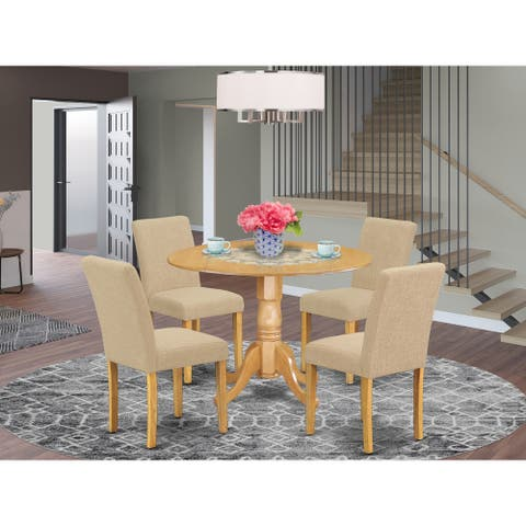 Round 42 Inch Table and Parson Chairs in Light Fawn Linen Fabric (Number of Chairs Option)