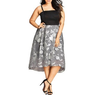 City Chic Womens Plus Semi-Formal Dress Floral Embroidery Two-Tone