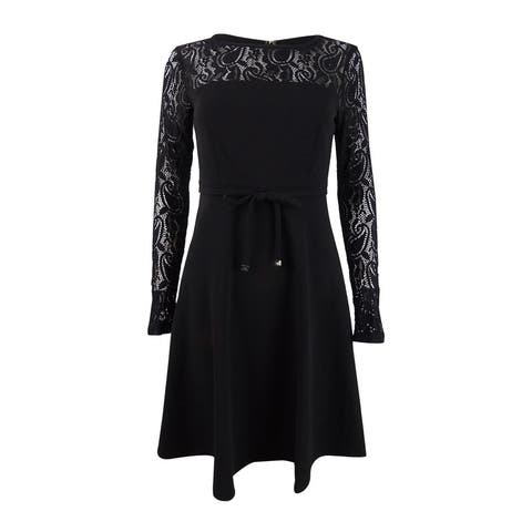 Tommy Hilfiger Women's Lace-Sleeve Fit & Flare Dress