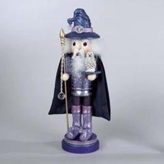 "18"" Hollywood Decorative Magical Wizard Purple Wooden Christmas Nutcracker"