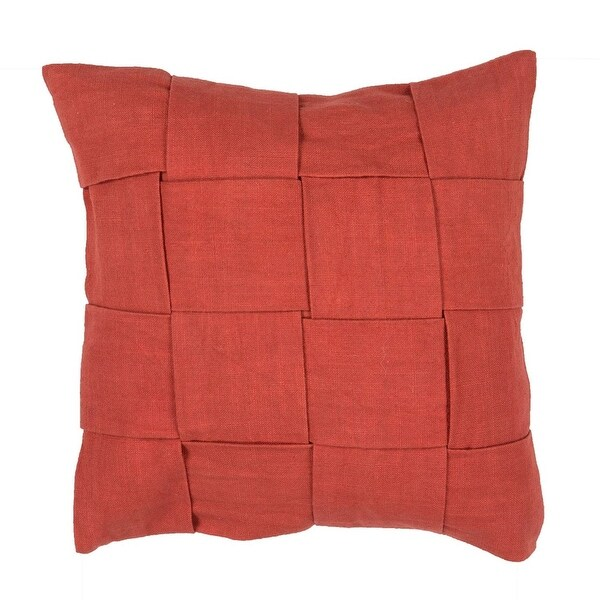 "18"" Red Clay Wide Woven Pattern Decorative Throw Pillow"