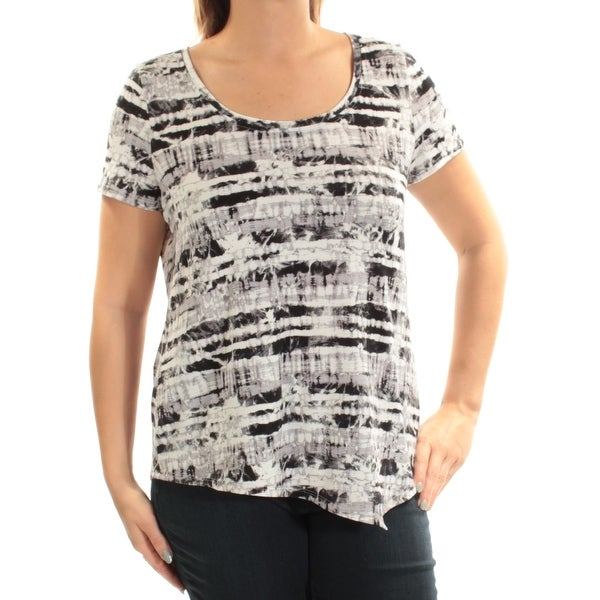 429144e832 Shop KENSIE Womens White Printed Short Sleeve Scoop Neck Top Size  L - Free  Shipping On Orders Over  45 - Overstock.com - 22432634
