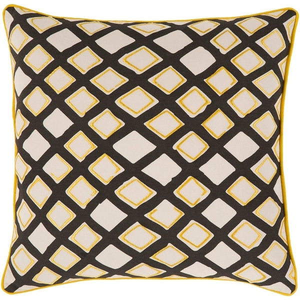 "18"" Sunflower Yellow, Midnight Black and Cream Woven Decorative Throw Pillow- Down Filler"