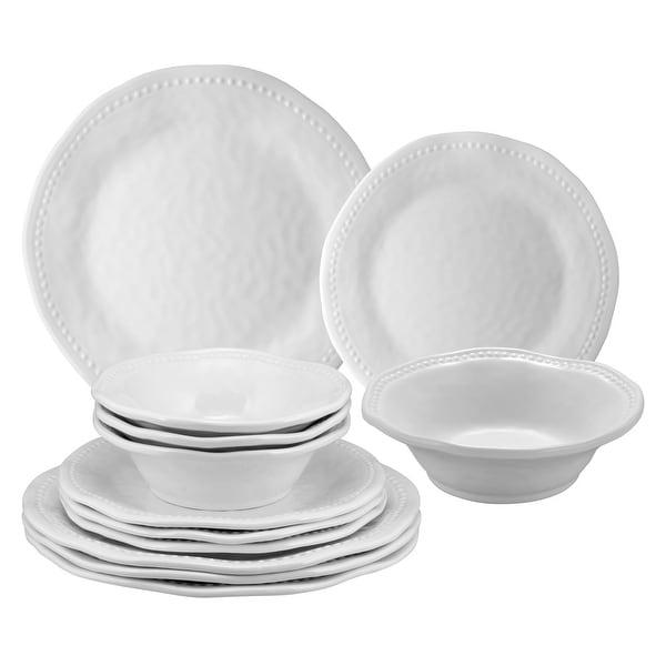 UPware 12-Piece Beaded Melamine Dinnerware Set