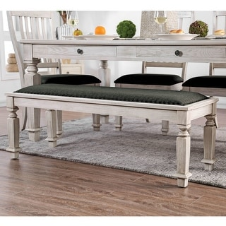 Link to Furniture of America Hish Rustic White Fabric Upholstered Dining Bench Similar Items in Living Room Furniture