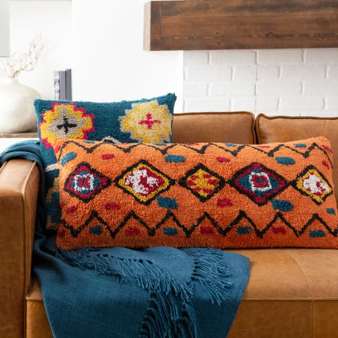 Slade Orange Boho Lumbar Throw Pillow