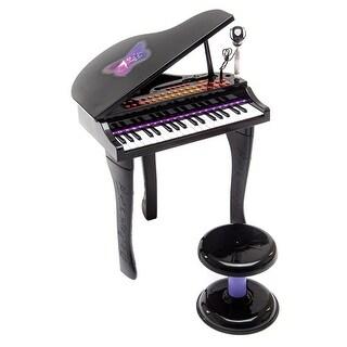 Costway 37 Key Kids Mini Toy Grand Piano Electronic Keyboard w/ Stool & Microphone Black