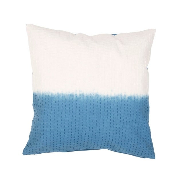 "20"" Marine Blue and Foamy White Two Tone Abstract Pattern Decorative Throw Pillow"