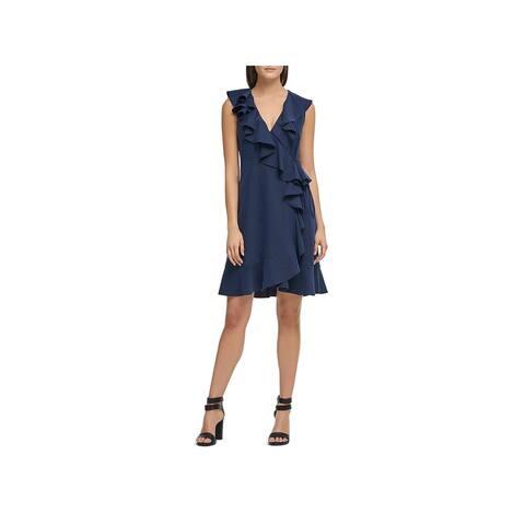 Donna Karan Womens Party Dress Knee-Length Ruffled