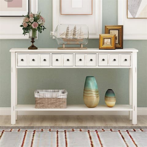 Merax Rustic 4-drawers Long Entryway Console Table