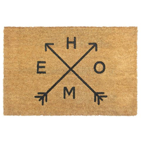 """RugSmith Natural Machine Tufted HOME Arrows Coir Doormat, 24"""" x 36"""" - 24"""" x 36"""""""
