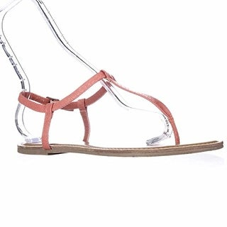 A.R. Krista Thong T-Strap Flat Sandals - Coral