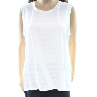 Calvin Klein NEW White Women's Size 8 Striped Knit Tank Cami Top