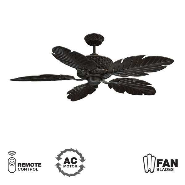 "Ellington Fans Pineapple Pineapple 52"" 5 Blade Indoor / Outdoor Ceiling Fan - Blades Included - Aged Bronze"