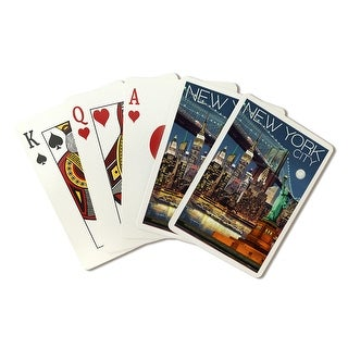 New York City, NY - Skyline at Night - LP Artwork (Poker Playing Cards Deck)