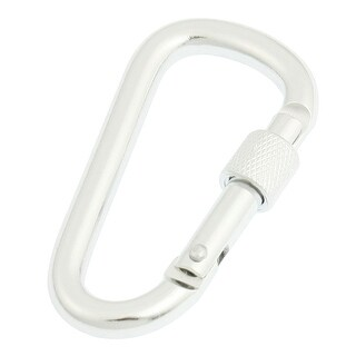 "Hiking Lockable Spring Load Silver Tone Aluminum Alloy Carabiner 2.2"" Length"