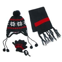 CTM® Kids' Snowflakes Peruvian Hat Scarf and Gloves on a String Set