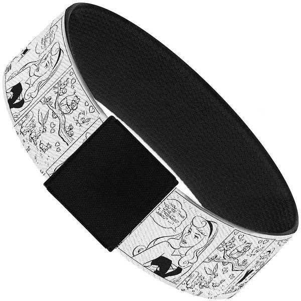 "Sleeping Beauty Scene Blocks Outline White Black Elastic Bracelet 1.0"" Wide"