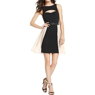 Material Girl Womens Juniors Bodycon Dress Textured Mixed Media - L