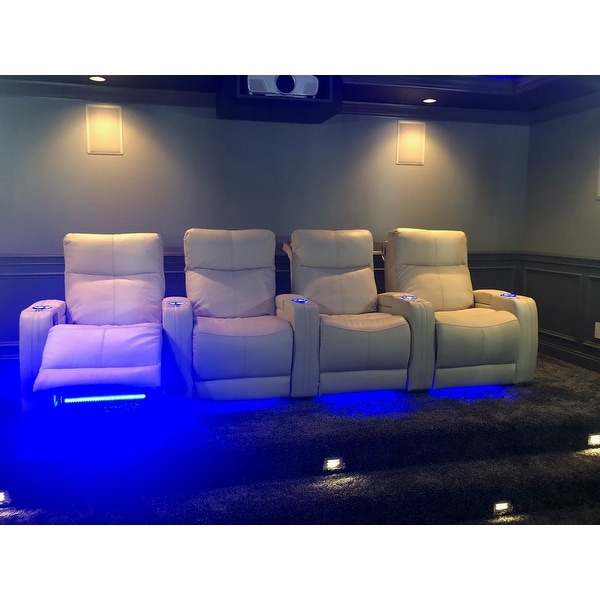 Seatcraft Solstice Leather Home Theater Seating Recline With Ed Headrest And Lumbar Support Cream Row