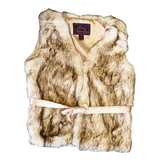 Girls Crystal Fox Faux Fur Vest 7-12 (2 options available)