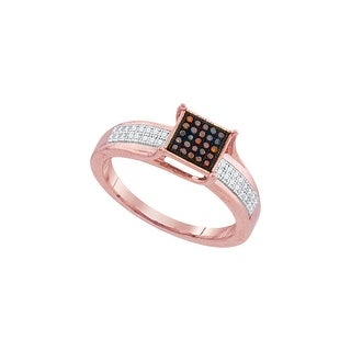 10kt Rose Gold Womens Round Red Colored Diamond Square Cluster Fashion Ring 1/7 Cttw - White