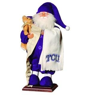 "15"" NCAA TCU Horned Frogs Pajama Santa Claus Table Top Christmas Decoration"