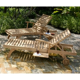 Link to Chic Teak Bahama Teak Wood Pool and Patio Lounger with Pull Out Side Table Similar Items in Patio Furniture