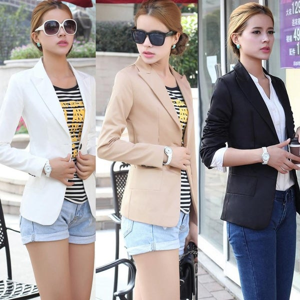 Fashion Women Long Sleeve One Button Pure Color Suit Slim Jacket Coat  Outwear 06d30eef80