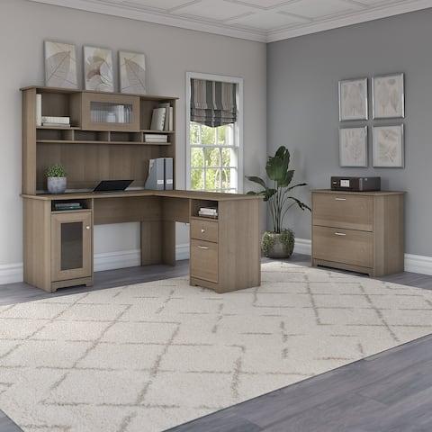 Copper Grove Daintree L-shaped Hutch Desk with Lateral File Cabinet
