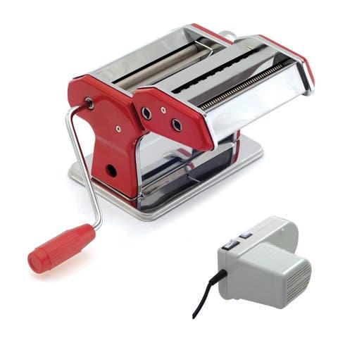 Norpro 1049R Pasta Machine, (Silver/Red) with Pasta Machine Motor