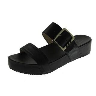 Dr Scholl's Womens Frill Textured Slide Platform Sandals
