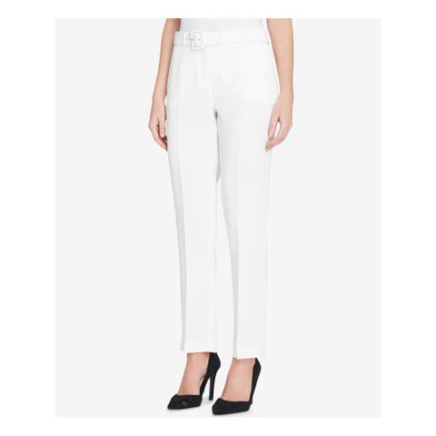 TAHARI Womens Ivory Straight leg Wear To Work Pants Size 18