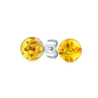 Bling Jewelry Imitation Amber Ball Stud earrings Stainless Steel 8mm