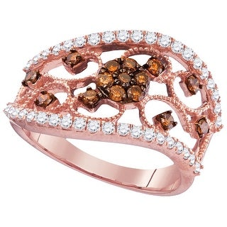10kt Rose Gold Womens Round Cognac-brown Colored Diamond Filigree Band Fashion Ring 7/8 Cttw - Brown/White