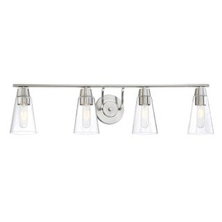 Designers Fountain 87804 Echo 4 Light Bathroom Fixture with Clear Glass Shades