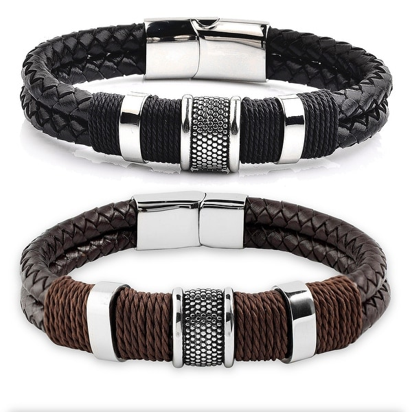 Men's Stainless Steel Woven Leather Bracelet - 8.5 Inches. Opens flyout.