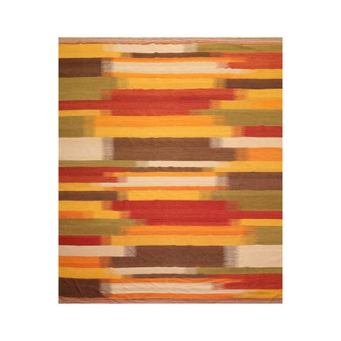 Hand Woven Reversible Gold,Sage Flat Weave Wool Modern & Contemporary Oriental Area Rug (8x10) - 7' 5'' x 9' 5''