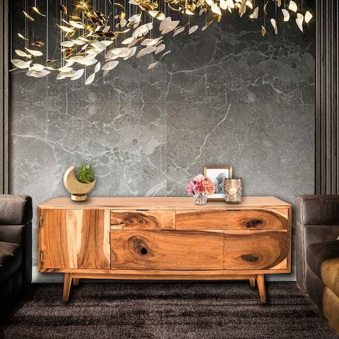 Salernum Live Edge Suar Wood Cabinet with 1 door/4 drawers