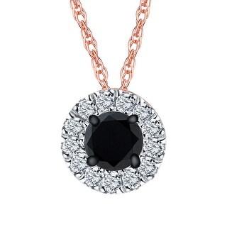 Prism Jewel 0 20Ct Round Black Diamond With Natural Diamond Halo Pendant