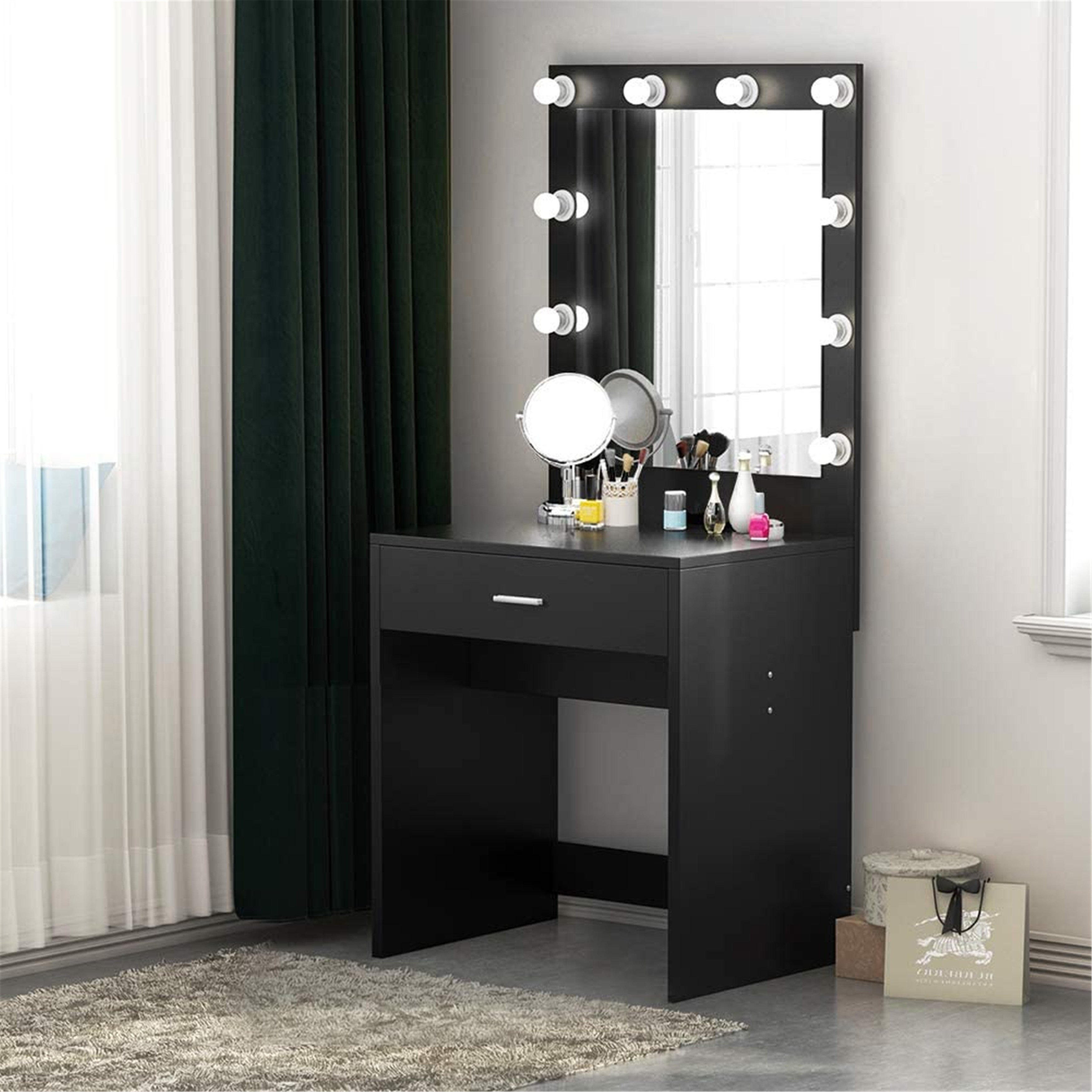 Makeup Vanity with Lighted Mirror, Dressing Table, Dresser Desk for Bedroom  (Stool not included)